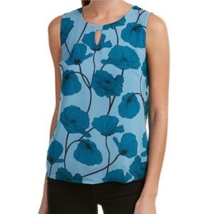 Cabi Blue Poppy Sleeveless Blouse Top